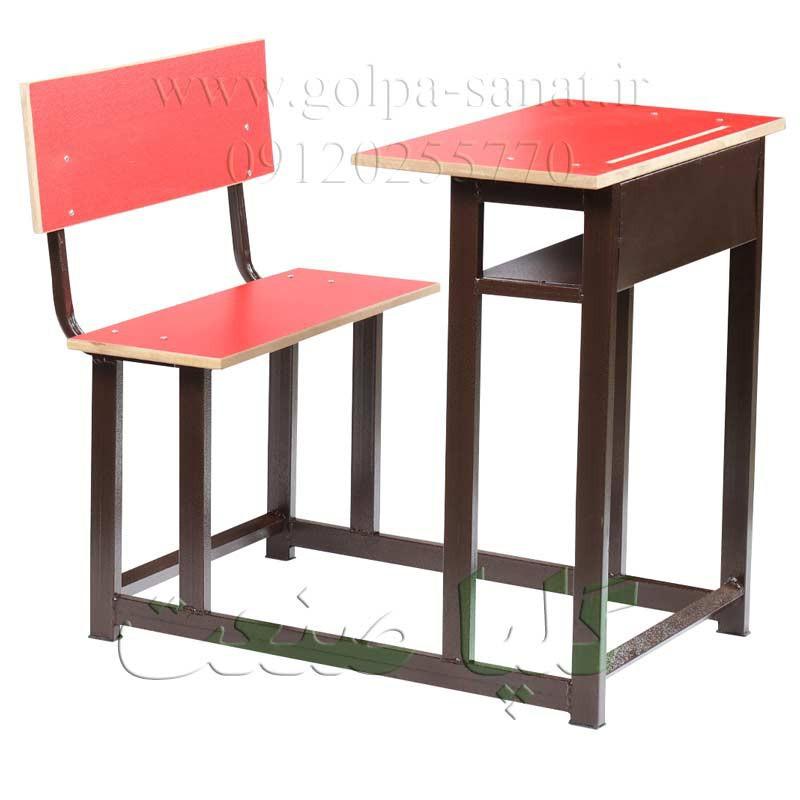 میز و نیمکت پشتی دار مدارس رنگ قرمز