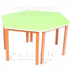 دو عدد میز ذوزنقه مهد کودکی به هم چسبیده