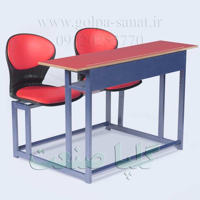 میز و نیمکت صدفی دو نفره قرمز رنگ